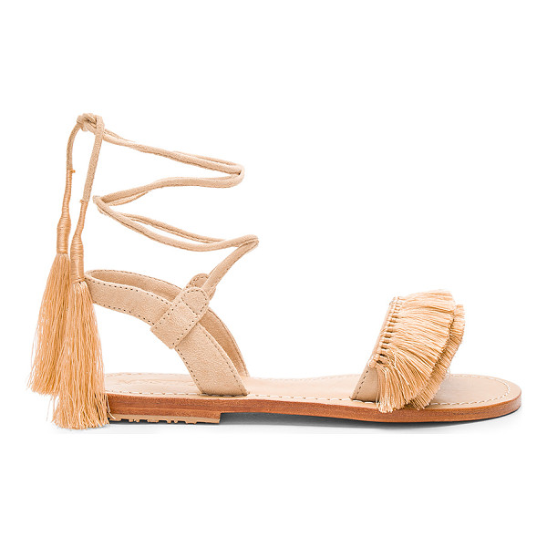 MYSTIQUE Sandal - Suede upper with leather sole. Wrap ankle with tie closure....