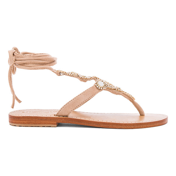 MYSTIQUE Shell Sandals - Czech and Swarovski crystal accented suede upper with