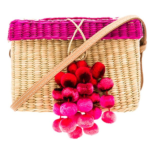 "NANNACAY Roge Medium Pompom Bag - ""Woven straw exterior and lining. Box flap top with strap..."