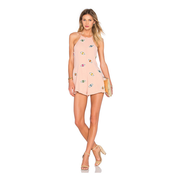 NBD Eyes On Me Romper - Poly blend. Hand wash cold. Embroidered graphic with bead...