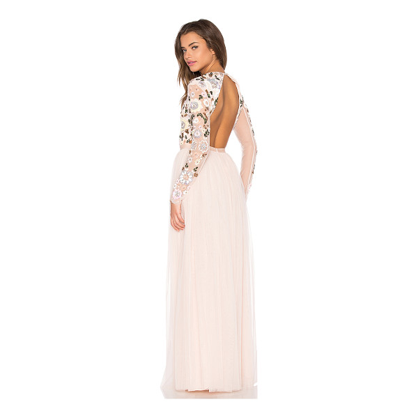 NEEDLE & THREAD Floral cluster embellished gown - Nylon blend. Dry clean only. Fully lined. Embellished...