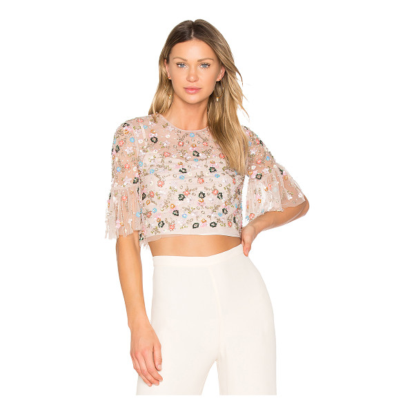 NEEDLE & THREAD Starburst Top - 100% poly. Dry clean only. Sheer mesh overlay. Bead and...