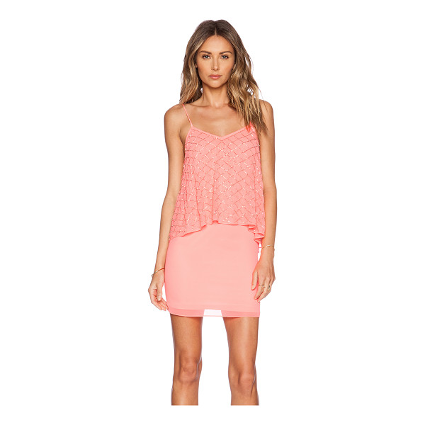NEEDLE & THREAD Tiered geo dress - 100% poly. Dry clean only. Neckline to hem measures approx...