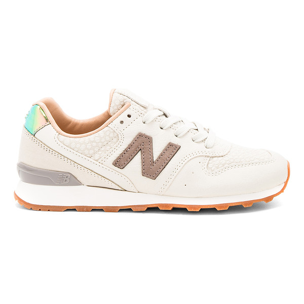 NEW BALANCE NB Grey Sneaker - Leather and textile upper with rubber sole. Lace-up front....