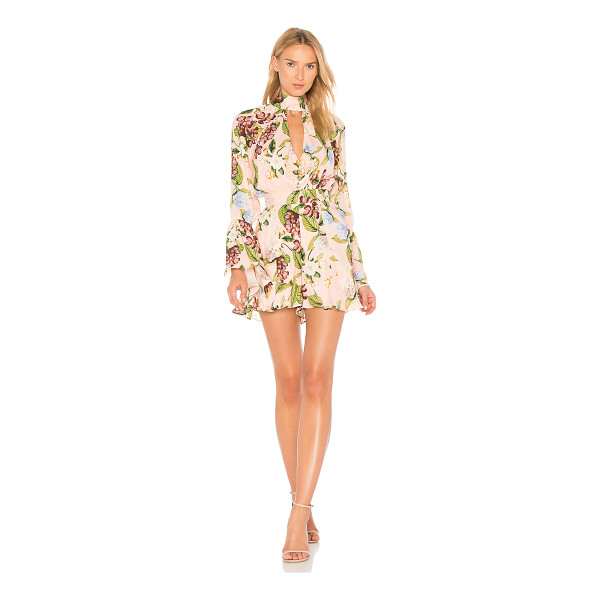 """NICHOLAS Bell Sleeve Romper - """"Self: 100% silk100% poly. Dry clean only. Front keyhole..."""