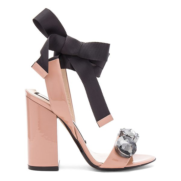 "NO. 21 Tie Ankle Gem Heel - ""Patent leather upper with leather sole. Grosgrain wrap..."