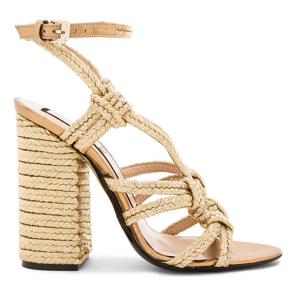 NO. 21 Woven Strappy Heel - Woven metallic textile upper with leather sole. Wrap ankle...