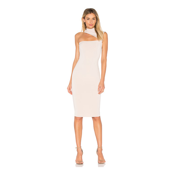 NOOKIE Charlize High Neck Dress - Poly/spandex blend. Unlined. Asymmetric neckline cut-out....