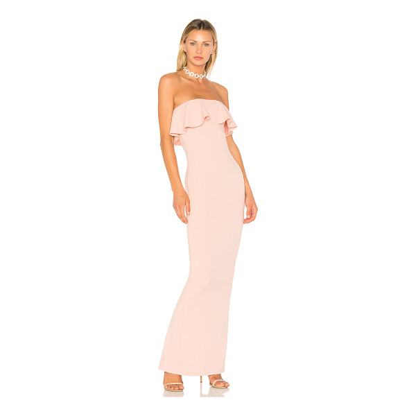"""NOOKIE Hermosa Gown - """"94% poly 6% spandex. Fully lined. Flounce bodice overlay...."""