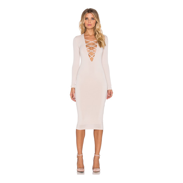 NOOKIE Ti amo lace up midi dress - 94% poly 6% spandex. Lined. Back hidden zipper closure....