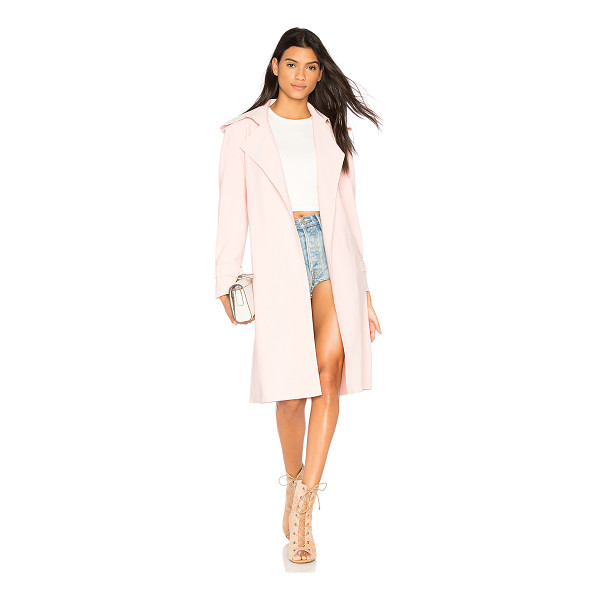 NORMA KAMALI Double Breasted Trench - 95% poly 5% spandex. Detachable waist tie. Side welt...