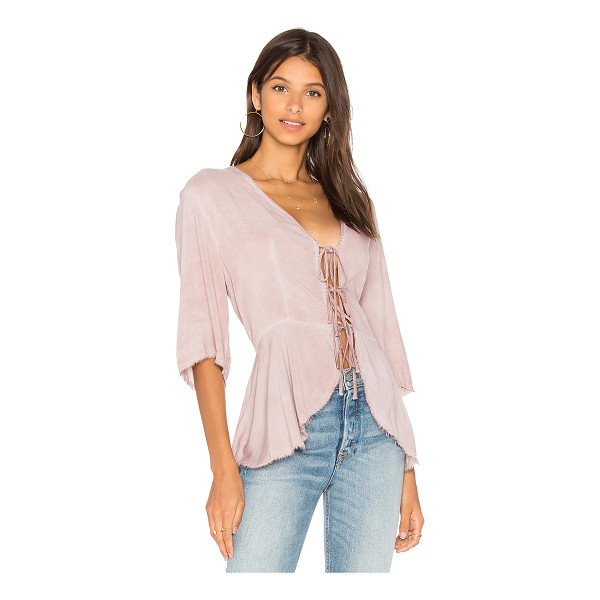 NYTT Front Tie Kimono Top - Rayon blend. Hand wash cold. Front tie closure. Frayed...