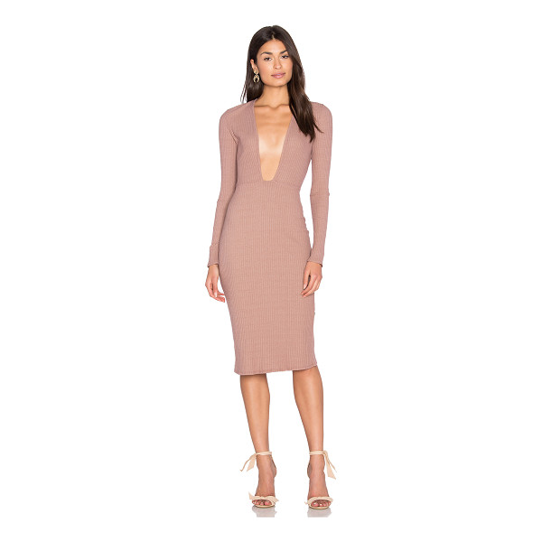NYTT Long Sleeve Plunge Dress - 50% cotton 46% poly 4% spandex. Hand wash cold. Unlined....