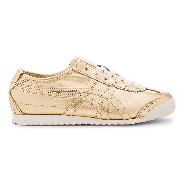 ONITSUKA TIGER Mexico 66 Sneaker - Metallic leather upper with rubber sole. Lace-up front.