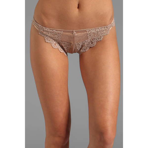 ONLY HEARTS So fine lace thong - 88% nylon 12% lycra. Hand wash cold. Scalloped edges....