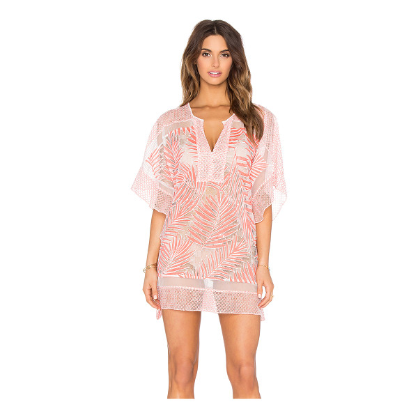 PARKER Beach Palm Cover Up - Nylon blend. Hand wash cold. Unlined. Sheer mesh fabric....