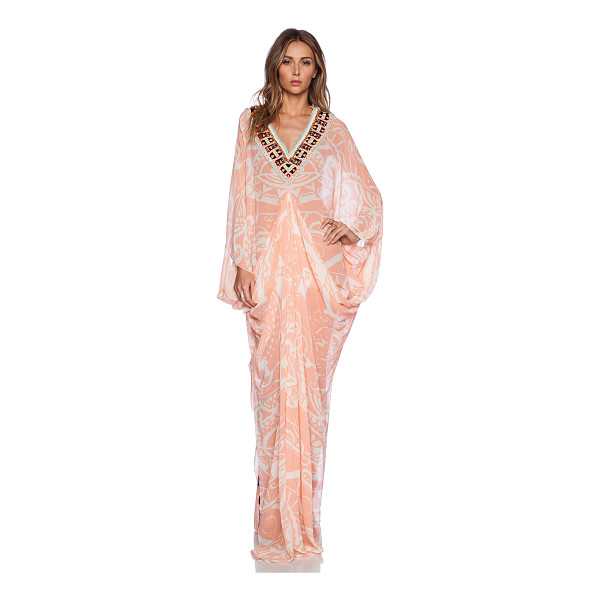 PIA PAURO Ladies embroidered printed kaftan - 100% silk. Dry clean only. Embroidered neckline with beaded...