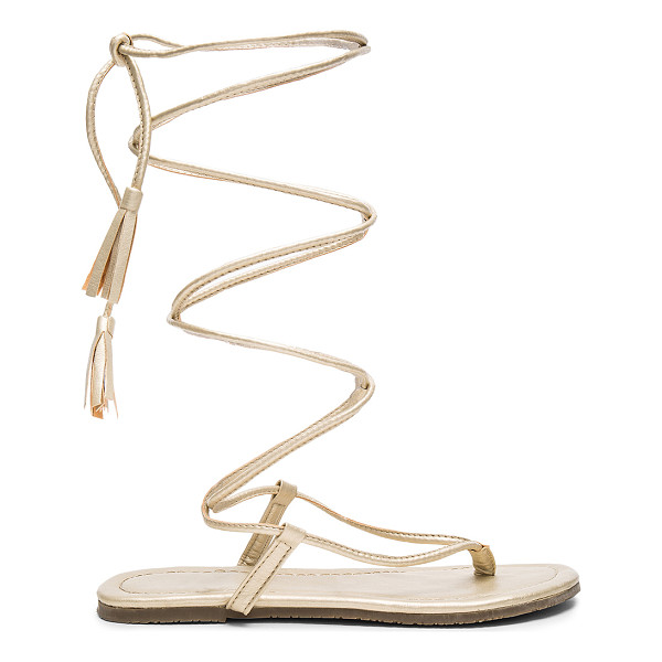 PILYQ Gladiator Sandals - Metallic leather upper with rubber sole. Wrap ankle with