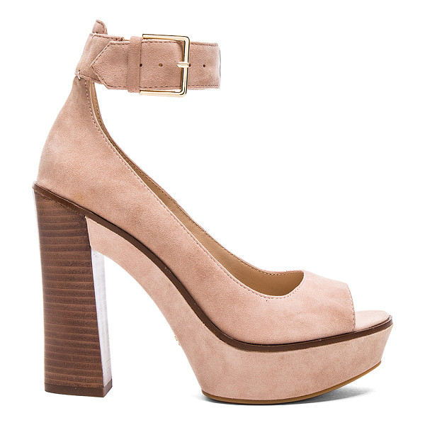 POUR LA VICTOIRE Luxe heel - Suede upper with rubber sole. Ankle strap with buckle...
