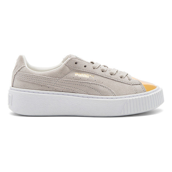 PUMA Suede Platform Sneaker - Suede upper with rubber sole. Lace-up front. Metallic toe...