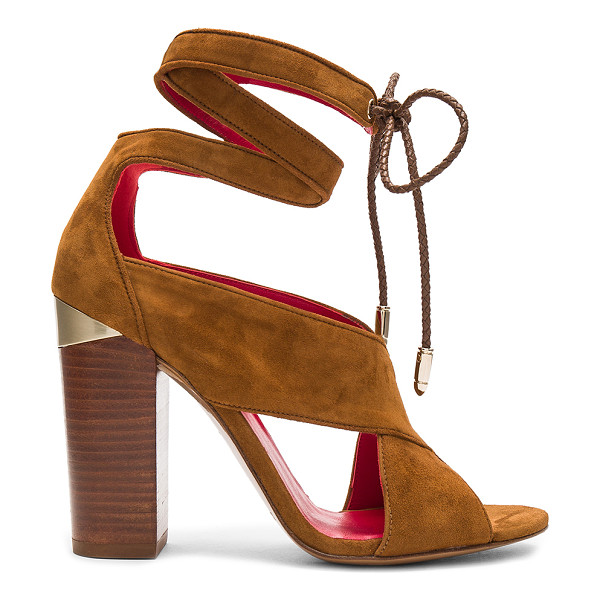 PURA LOPEZ Ankle Wrap Heel - Suede upper with leather sole. Wrap ankle with braided tie