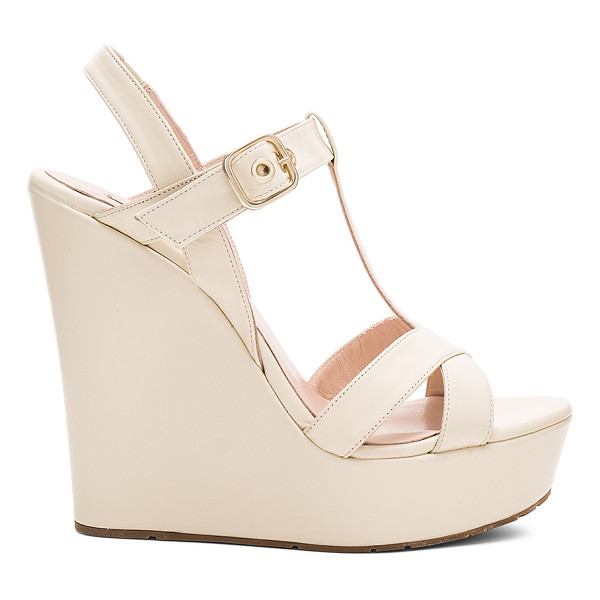 PURA LOPEZ High Wedge - Leather upper with man made sole. Ankle strap with buckle...