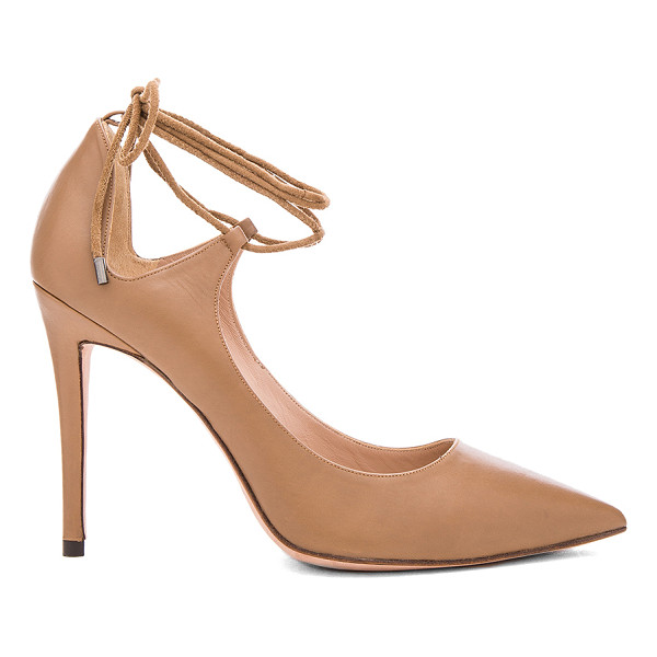 PURA LOPEZ Laced Ankle Heel - Leather upper and sole. Suede wrap ankle with tie closure....
