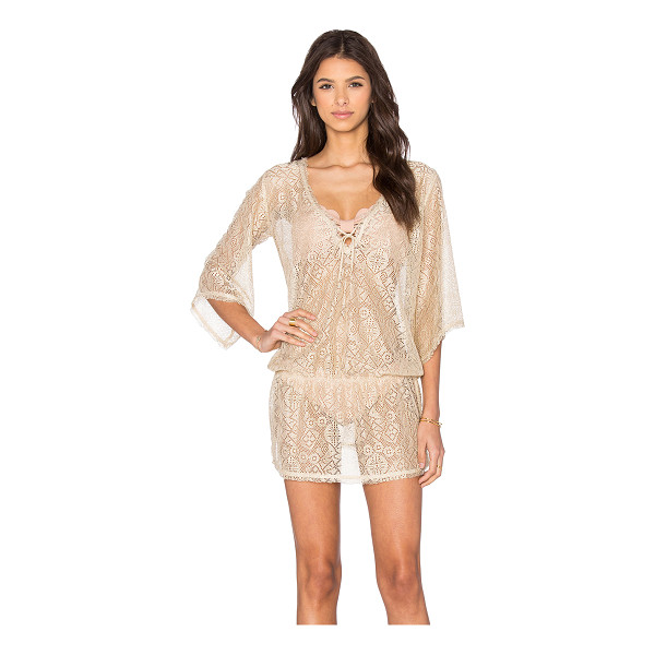 QUEEN & PAWN Ibiza metallic lace tunic cover up - Poly blend. Keyhole front with tie closure. Elasticized...