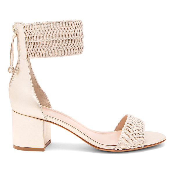 "RACHEL ZOE Carrie Sandal - ""Woven textile and metallic leather upper with leather..."