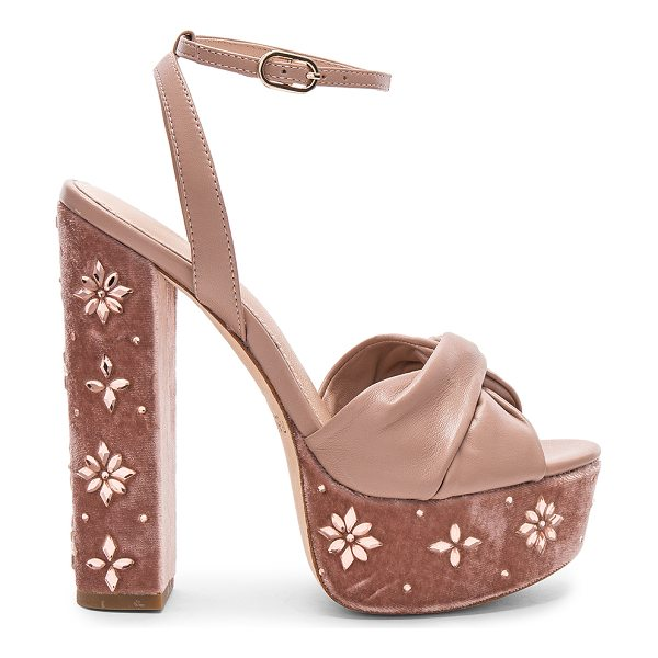 """RACHEL ZOE Claudette Crystal Heel - """"Leather upper and sole. Ankle strap with buckle closure...."""
