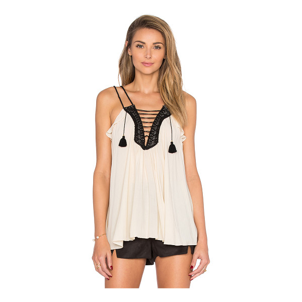 RACHEL ZOE Sami Lace Up Tank - Viscose blend. Dry clean only. Lace-up front and back with...