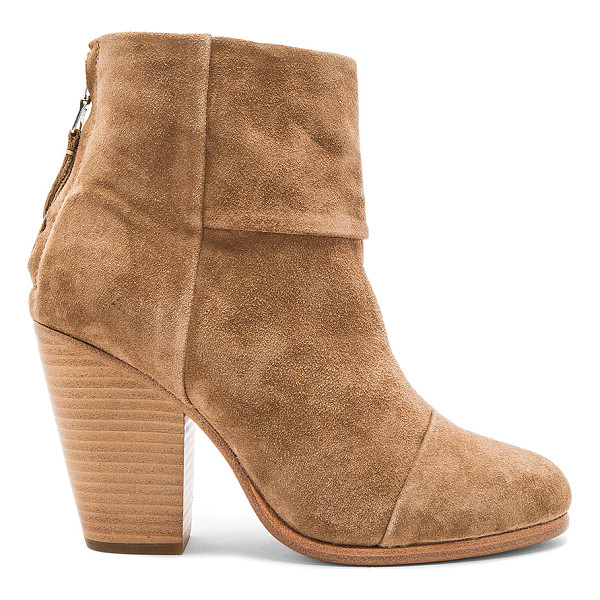 RAG & BONE Classic Newbury Bootie - Suede upper with leather sole. Back zip closure. Heel