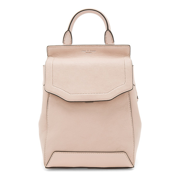 RAG & BONE Small Pilot Backpack II - Leather exterior with nylon lining. Flap top with push lock...