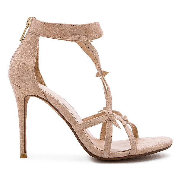 RAYE Blossom Heel - Suede upper with man made sole. Back zip closure. Front bow