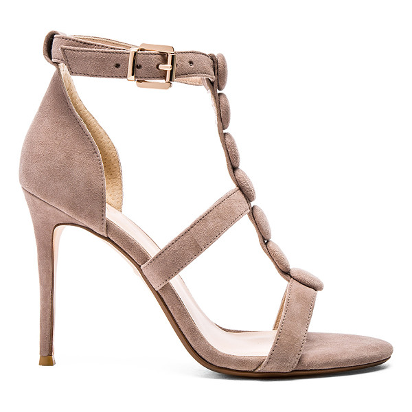RAYE Bobbie heel - Suede upper with man made sole. Covered button accents....