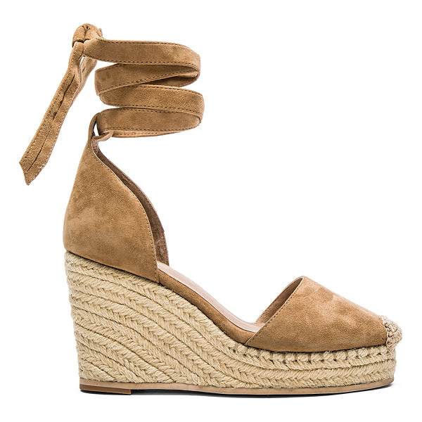 RAYE Dahlia Espadrille Wedge - Suede upper with rubber sole. Jute trim. Wrap tie closure....