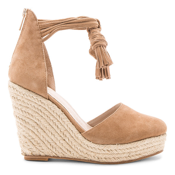 "RAYE Dixie Wedge - ""Charming tassel accents, sleek suede fabric, and chic jute..."