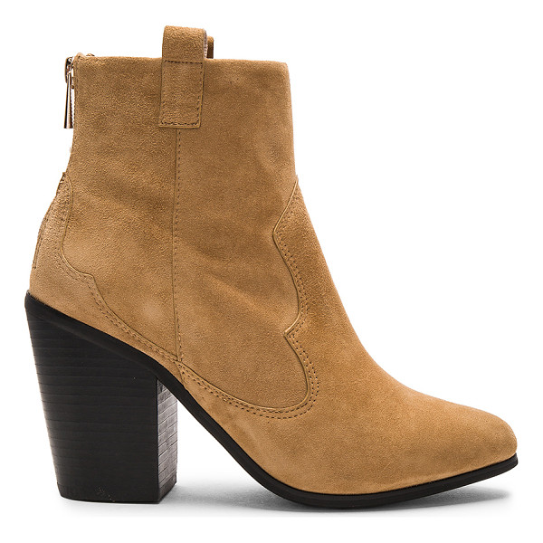 RAYE Ella Bootie - Suede upper with rubber sole. Back zip closure. Stitched...