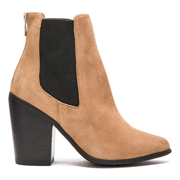 RAYE Evie bootie - Suede upper with rubber sole. Elastic side panels. Back zip...