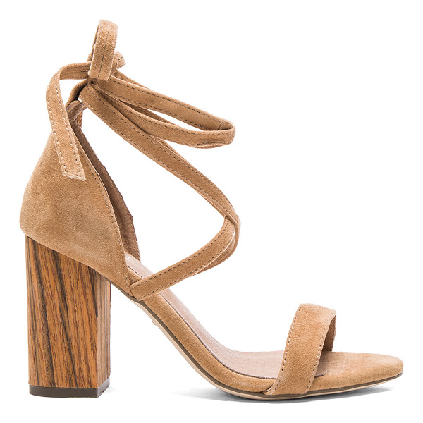 RAYE Layla Heel - Suede upper with man made sole. Wrap ankle with tie...