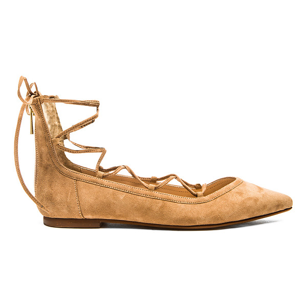 RAYE Pippa flat - Suede upper with man made sole. Lace-up front. Back zip...