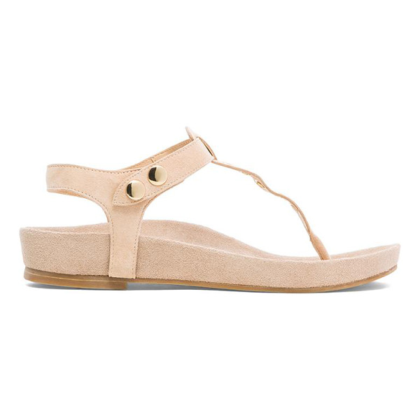 RAYE Roxy sandal - Suede upper with man made sole. Grommet accent. Button...