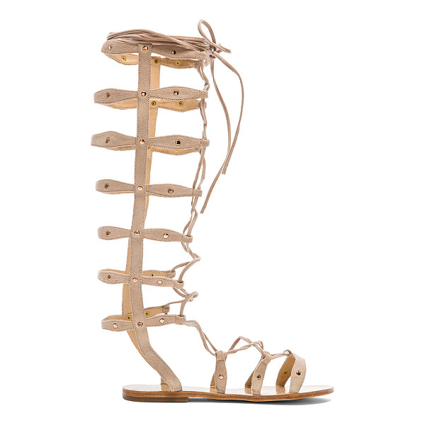 RAYE Shanna Gladiator Sandal - Suede upper with leather sole. Flat stud accents. Lace-up...