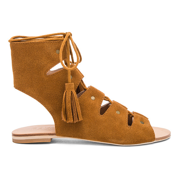 RAYE Sydney Sandal - Suede upper with man made sole. Lace-up front with fringe...