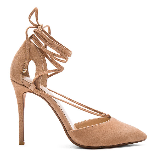 RAYE Tamrin Pump - Suede upper with man made sole. Lace-up front with wrap tie...