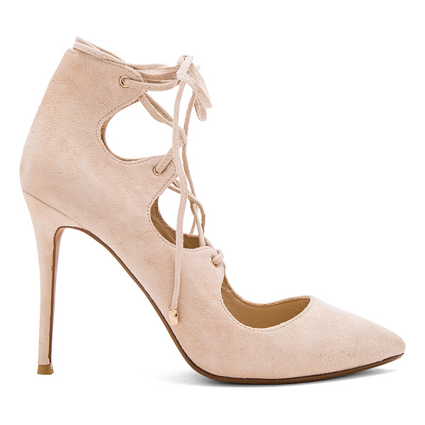 RAYE Tessa Pump - Suede upper with man made sole. Lace-up front with wrap tie...