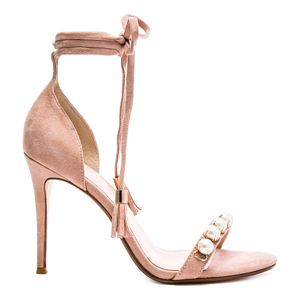 RAYE X revolve bennie heel - Suede upper with man made sole. Pearl accents. Wrap tie...