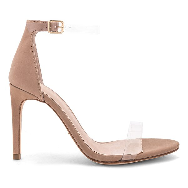 """RAYE Jameson Heel - """"Suede and clear vinyl upper with leather sole. Ankle strap..."""