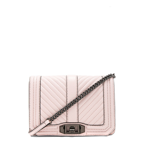 REBECCA MINKOFF Chevron Quilted Small Love Crossbody Bag - Leather exterior with jacquard fabric lining. Flap top with...