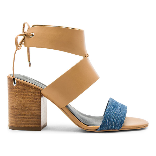 REBECCA MINKOFF Christy Heel - Leather and denim textile upper with man made sole. Back